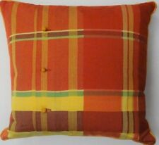 """Vintage Coral, Yellow & Mint Plaid Pillow w/ Peach Roped Buttons Accent"""""""