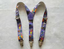 VINTAGE  AUTHENTIC TOM AND JERRY TURNER ENTERTAINMENT PURPLE BOYS SUSPENDERS
