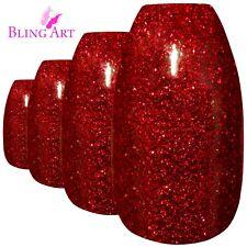 False Nails Red GEL Ballerina Coffin Bling Art 24 Fake Acrylic Tips 2g Glue