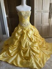 Yellow Beaded Ruffled Prom Gown Or Belle Dress Lace Up Bodice Sz 0