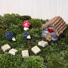 Miniature Mushroom House Garden Cobbles Hedgehog Fairy Ornament Flower Pot Decor