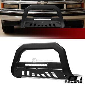 For 1997-2000 Chevy/GMC C/K C10 Matte Blk AVT Aluminum LED Bull Bar Grille Guard