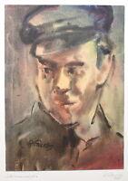 Richard Pusch Aquarell Strassenmeister 1948 Zeichnung Malerei Porträt Arbeiter