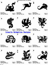 DRAGON SHADOWS & MORE (5X7) Multi-Format Machine Embroidery Designs on CD-Rom