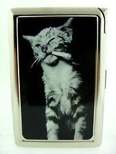Funny Cat 03 Cigarette Case Lighter Card Holder Bad Kitty Smoking Vintage Animal
