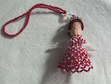 Beautiful Collectible Handmade Beaded Praying Angel Ornament Plum Brown Whit Wow