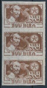 [23840] Vietnam 1951 : 3x Good Very Fine Mint No Gum Imperf Stamp in Strip