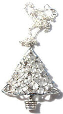 "GORGEOUS LARGE DIAMANTE CHRISTMAS TREE NECKLACE ON 18"" CHAIN - FREE GIFT BAG"