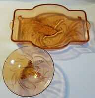 Indiana Glass Bird of Paradise Tiara Pink Depression Glass Vanity Tray & Bowl