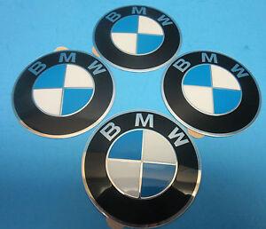 "4 Genuine Wheel Center Cap Emblems BMW OEM # 36136758569 70 mm 2.7"" Adhesive DIY"