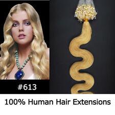 """20"""" Remy Micro Rings/loop Hair Wavy Human Hair Extensions #613 Light blonde"""