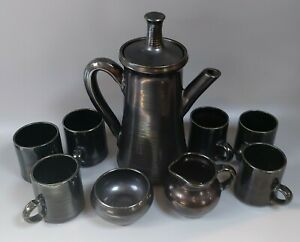 Vintage Pottery Coffee Set - 1970 - Knights Of Tintagel - Cornwall - Grey/Green