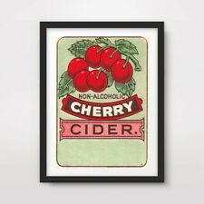 CHERRY RED RETRO GRAPHICS ART PRINT Fruit Drink Advertising Label Kitchen Decor