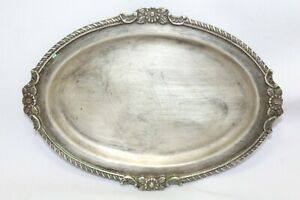 Antique Serving Plate Tray Pooja Item Handmade Silver Traditional Hand Engrave D