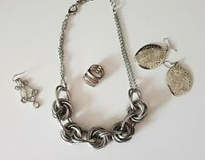 STERLING SILVER 3 BAND RING + Silver PLATED Necklace & EARRINGS Job lot x4 items