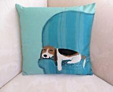 Cute Beagle Dog Puppy Brown White Teal Blue Green Cushion Cover FREEPOST