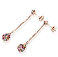 18K Rose Gold P Multicolour Austrian Crystal Glitterball Earrings Women Jewelry