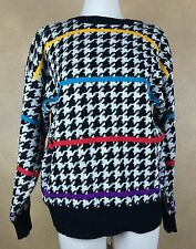 Izod Vintage Houndstooth w Colorful Stripes Acrylic Sweater  Size Medium