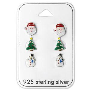 Sterling Silver 3 Pair Christmas Tree Santa Claus Snowman Kid Stud Earrings 2412