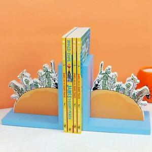 Wood Bookend Book Stops Supports Book End Set Shelves Office Stationery 2 Pack