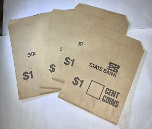 5 X State Bank Australia Brown Paper Coin Bags Excellent Condition $1 Cent Aucti