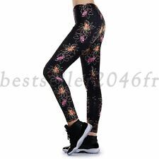 Women Black Floral Yoga Fitness Legging Running Sports Workout Pants Trousers