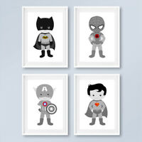 Neutral Grey Superhero Prints Childrens Boys Bedroom Nursery Art Decor Pictures