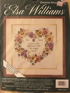 Elsa Williams Pansy Heart Wedding Sampler Counted Cross Stitch Kit 02097