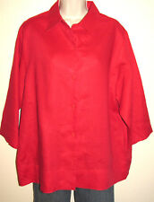 093c33e74c3 Westbound Woman Red Linen Button-Down 3 4 Sleeve Shirt Plus Size 16W  Excellent