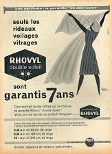 H- Publicité Advertising 1961 Les Rideaux Voile voilage Rhovyl