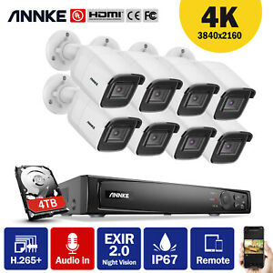 ANNKE 4K/8MP 8CH NVR POE Outdoor Security Camera System IP Network IR-Cut 0-2TB