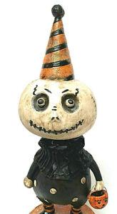 Halloween Skeleton Refurbished OOAK Bobble Head Folk Art Vintage Style