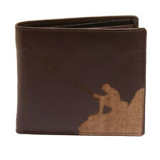 PellMell - Soft Brown Leather Coin Purse Wallet with Engraved Angler Design