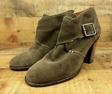 Lucky Brand Blue Jeans Leather Ankle Boots High Heel Buckle Suede Gray 9.5 39.5