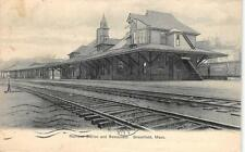 Railroad Station & Restaurant Greenfield, Massachusetts Depot 1906 Postcard