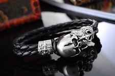 1 Bracelet Cuir Fermoir Mousqueton Tête de mort Acier Inoxydable 23cm