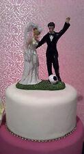 BRIDAL/WEDDING CAKE TOPPER/DECORATION -  Bride & Groom Playing Soccer