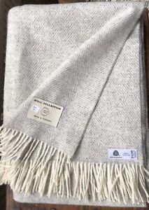 Bronte Throw 100% Merino Wool woven in the UK - Silver Grey & White Herringbone