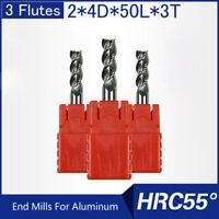 HRC55 3 Flutes 2MM Solid Carbide End Mills For Aluminum L 50MM