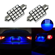 2x Ice Blue 36mm 16-SMD 6418 C5W LED Light Bulbs For Car License Plate Lights