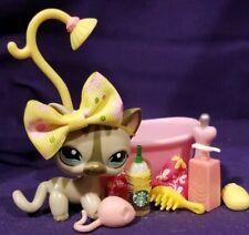Littlest Pet Shop #1206 Kitty Cat Walking Gray Striped Pink Ears Blue DOT Eyes
