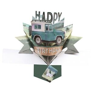 Birthday Card 3D Pop Up Card Land Rover Jeep