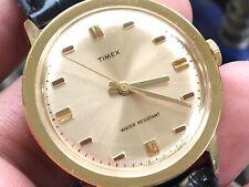 Vintage 1971 Timex Marlin Series Golden Mechanic Men's Watch Serviced New Strap