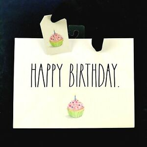 Rae Dunn Ivory Large Letter HAPPY BIRTHDAY Cupcake Graphic Gift Bag 8 Inch NEW