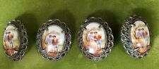 4 French Porcelain Scenic Silver Plated Victorian Buttons