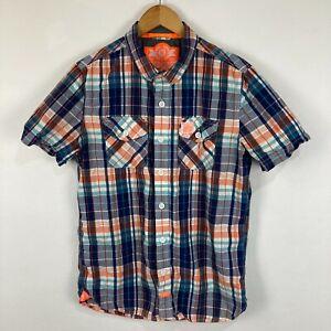Superdry Mens Button Up Shirt Size L Slim Fit Multicoloured Plaid Short Sleeve