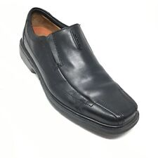 Men's Clarks Unstructured Loafers Dress Shoes Size 9 M Black Leather Slip On H8
