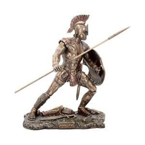 ACHILLEUS 25.5CM BRONZED FIGURINE GREEK MYTHOLOGY WARRIOR ART ACHILLES ORNAMENT