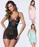 New Women's Sexy Sheer Lingerie Lace Dress Underwear Babydoll Sleepwear+G-string