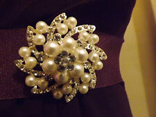 Diamante clear silver rhinestone pearl brooch,bridal,maid,evening,prom (185)